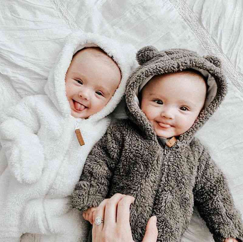 Pudcoco Cute Style - Newborn Baby Fuzzy Clothes, Hooded Footies Jumpsuit