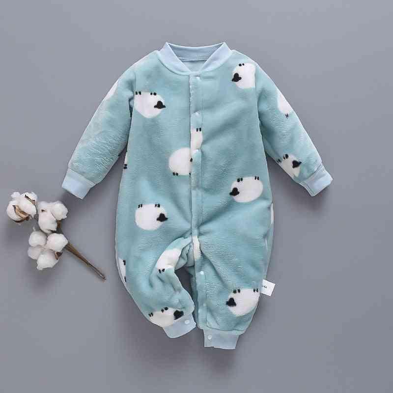 Autumn & Winter Baby Clothes - Dinosaur Print, Soft Fleece Jumpsuit Pajamas