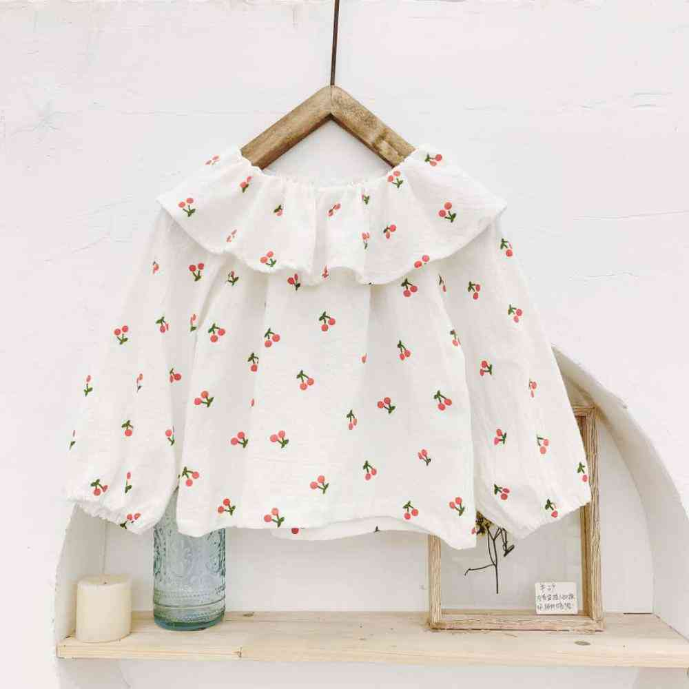 Autumn Children's Clothing- Cherry Print Large Lapel Shirt