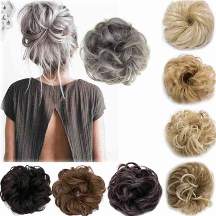 Curly Messy Bun-full And Wavy Hair Wrap Scrunchie