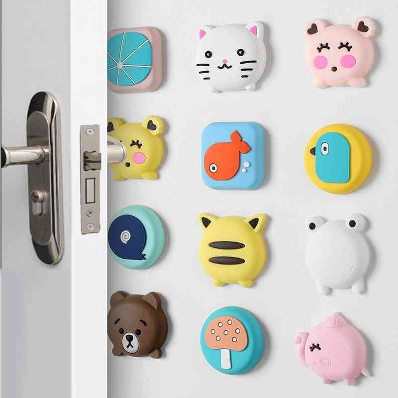 Silicone Self-adhesive Cartoon Door Stopper, Wall Protectors Pads