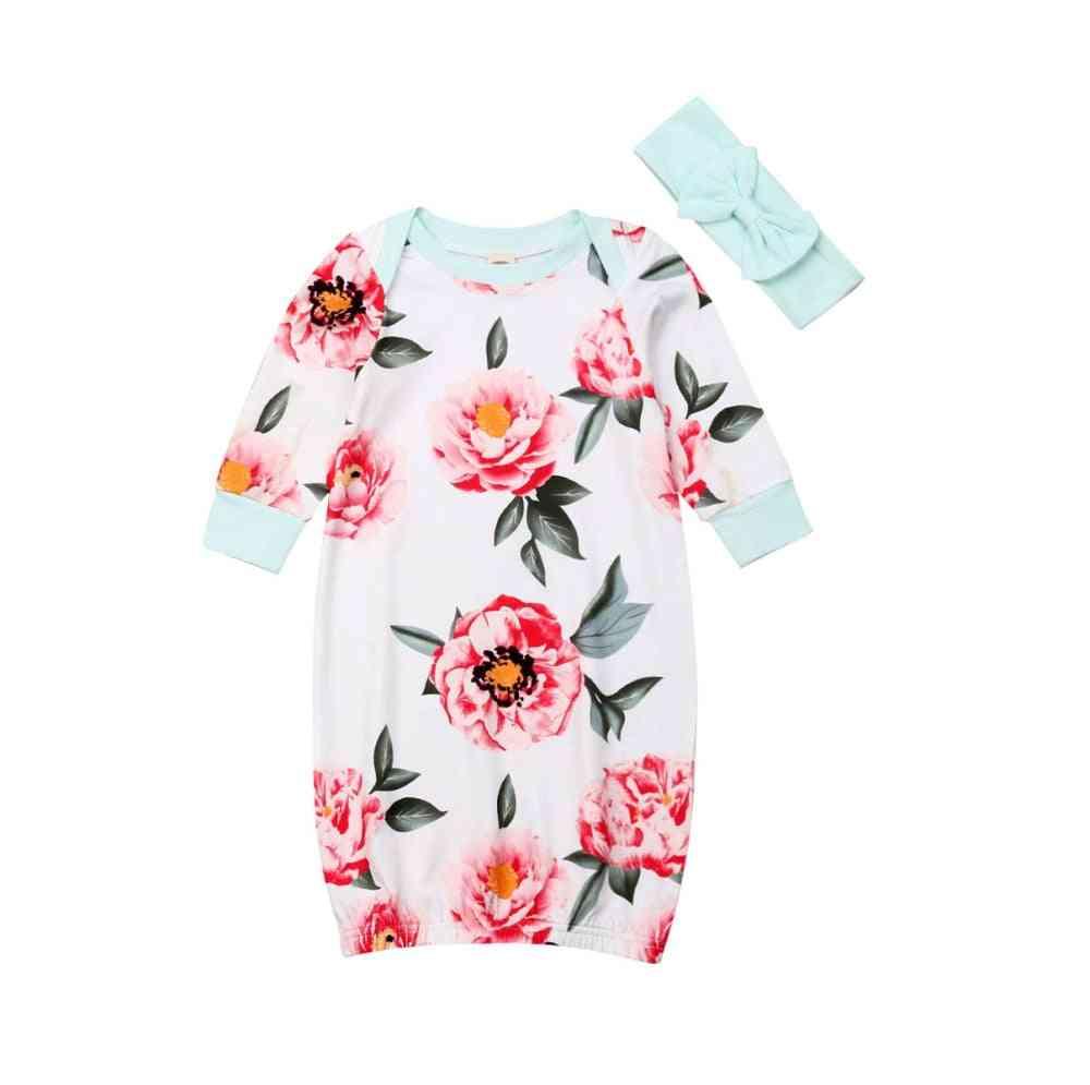 Baby Girl Floral Printed Long Sleeve Nightgown, Casual Sleepwear