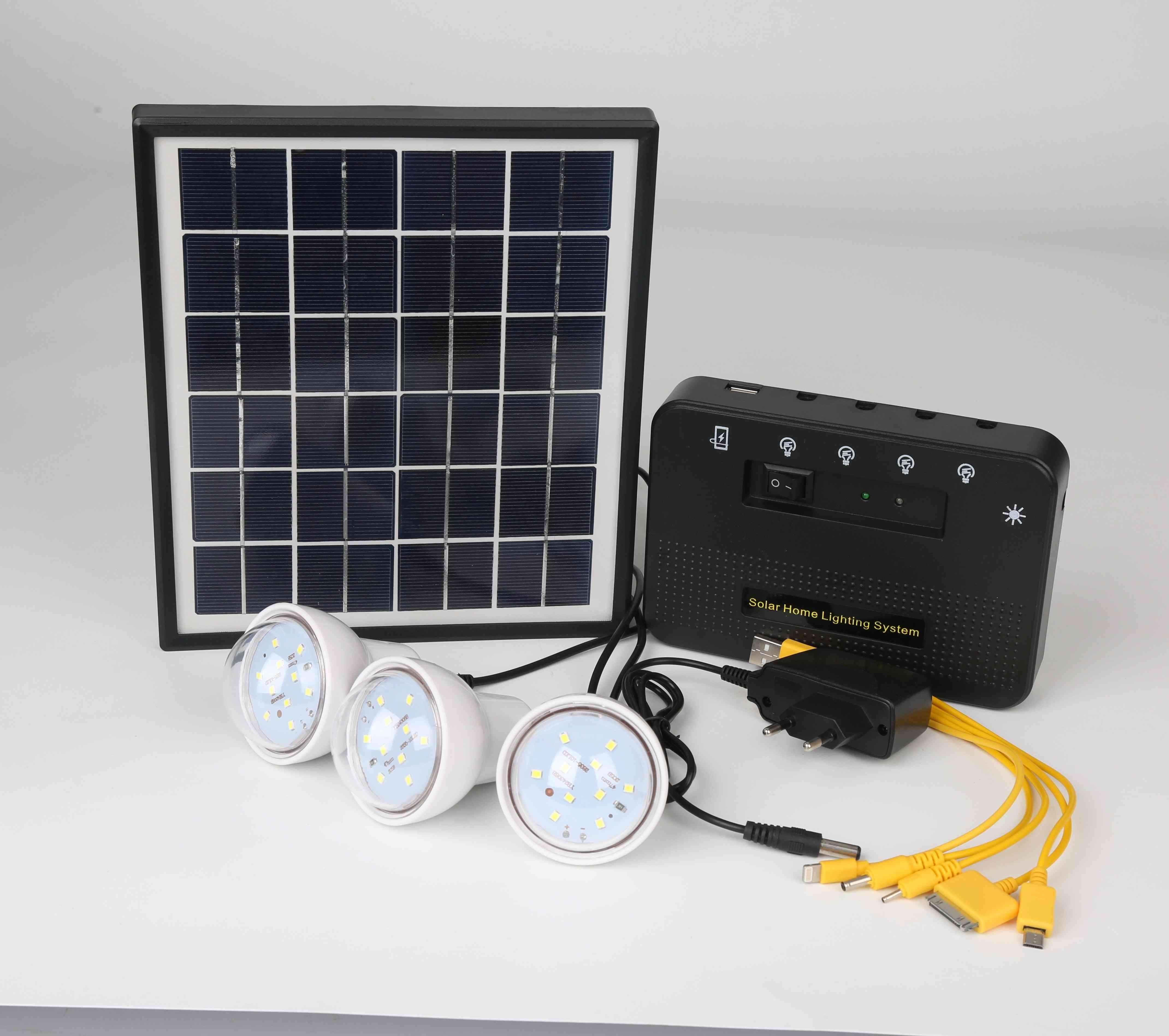 1.5w Portable Solar Home Lighting Systems With 3 Meters Cable And 4.5ah Lithium Battery