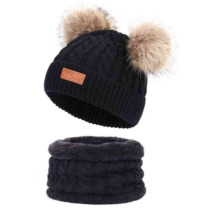 Boy & Girl Knit Wool Winter Hiarball Cap / Hat Scarf Set