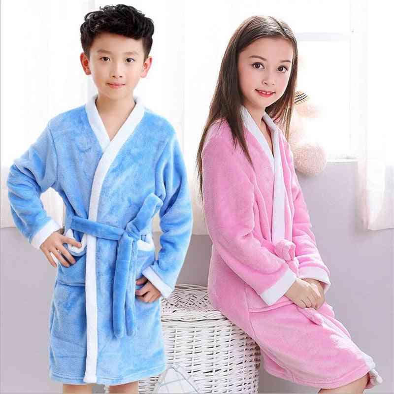 Soft Flannel Bathrobes - Boy Nightgowns Clothing Pajamas, Sleepwear