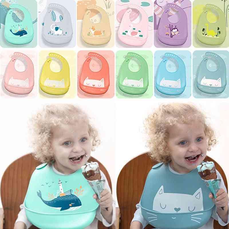 Baby Bibs Silicone Waterproof Dripping Bandana Newborn Feeding Soft Edible Aprons, Adjustable Burp Scarf