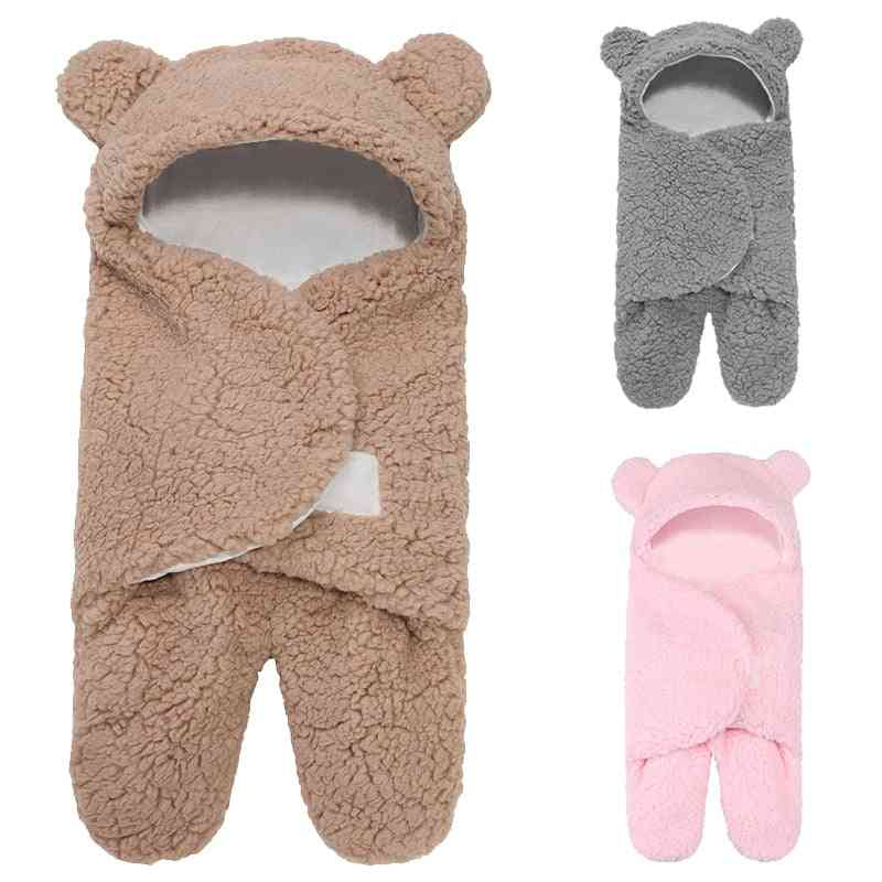 Newborn Sleeping Wrap Swaddle, Baby Cotton Plush / Cute Receiving Blanket Sack