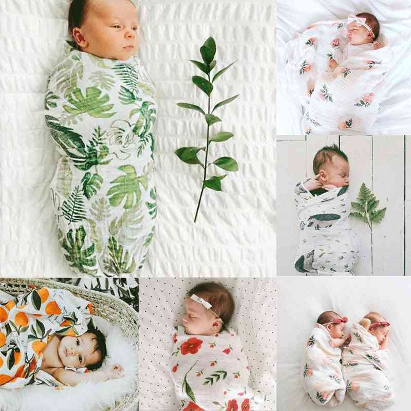 Toddler Baby Boy / Girl Floral Swaddle - Muslin Blanket Wrap, Headband Clothes Set