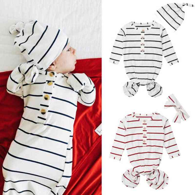 Baby Romper Sleepwear, Floral Striped Long Sleeve Knotted Sleepy Gown Swaddle Tie Nightgown Outfit