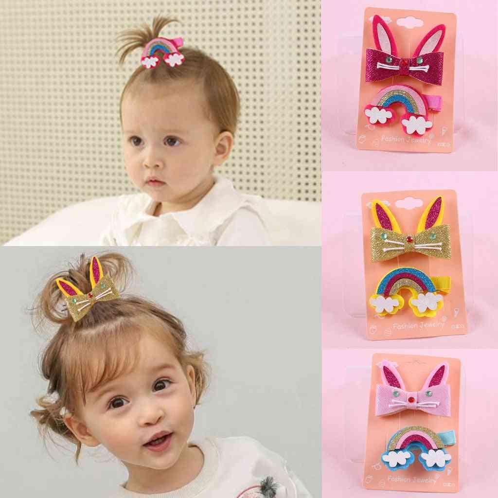 Cartoon And Rainbow Design Hairclip, Barrettes Set