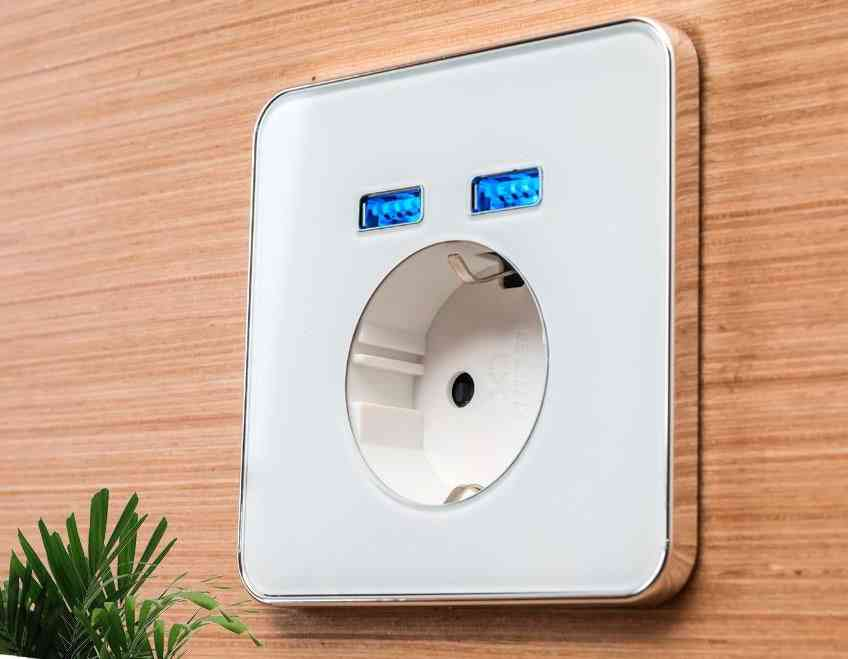 2a Wall Embeded Charging Socket With Dual Usb Port And Backlight Indicator Eu Plug