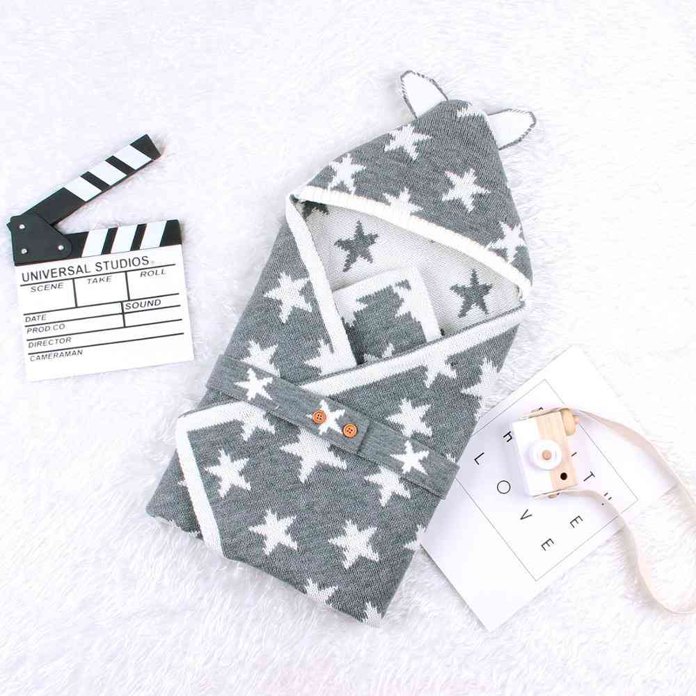 Baby Sleeping Bags Envelope For Newborn, Cute Five Star Knitted Swaddle Wrap