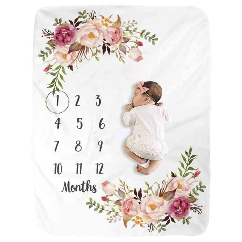 Baby Milestone Blanket, Flannel Newborn Photo Prop Backdrop With Monthly Growth Chart For Girl And Boy