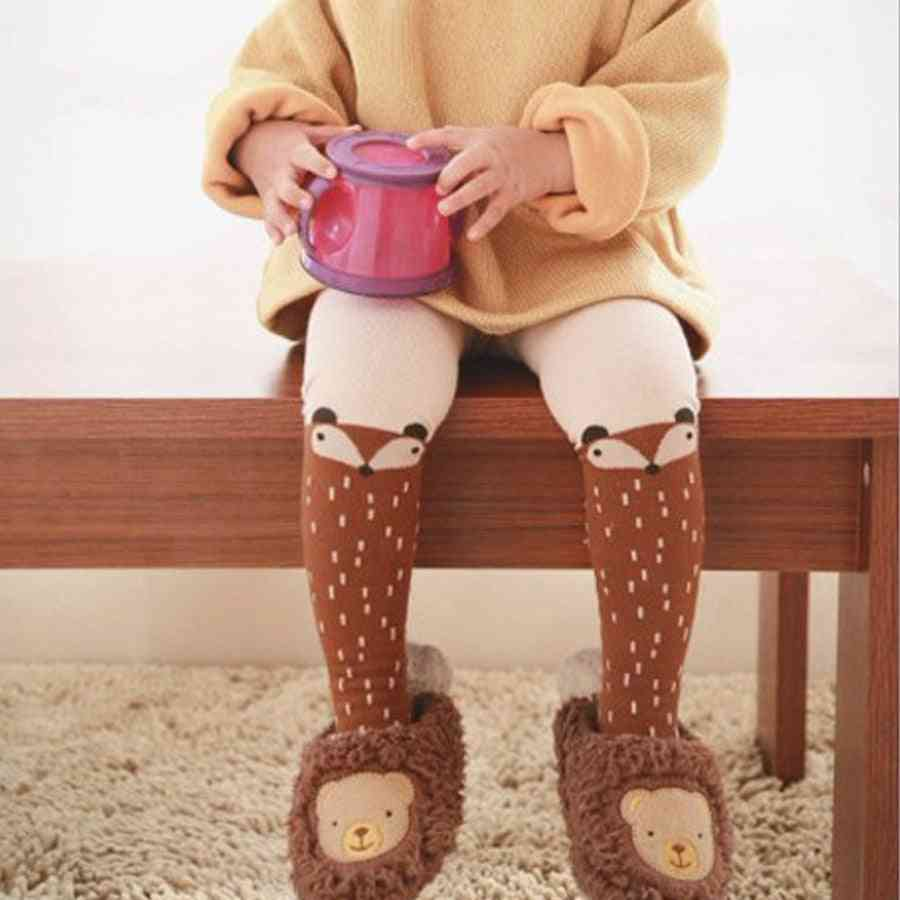 Baby Tights - Animal Fox Girl Stock, Knitted High Pantyhose Autumn Boy Cotton