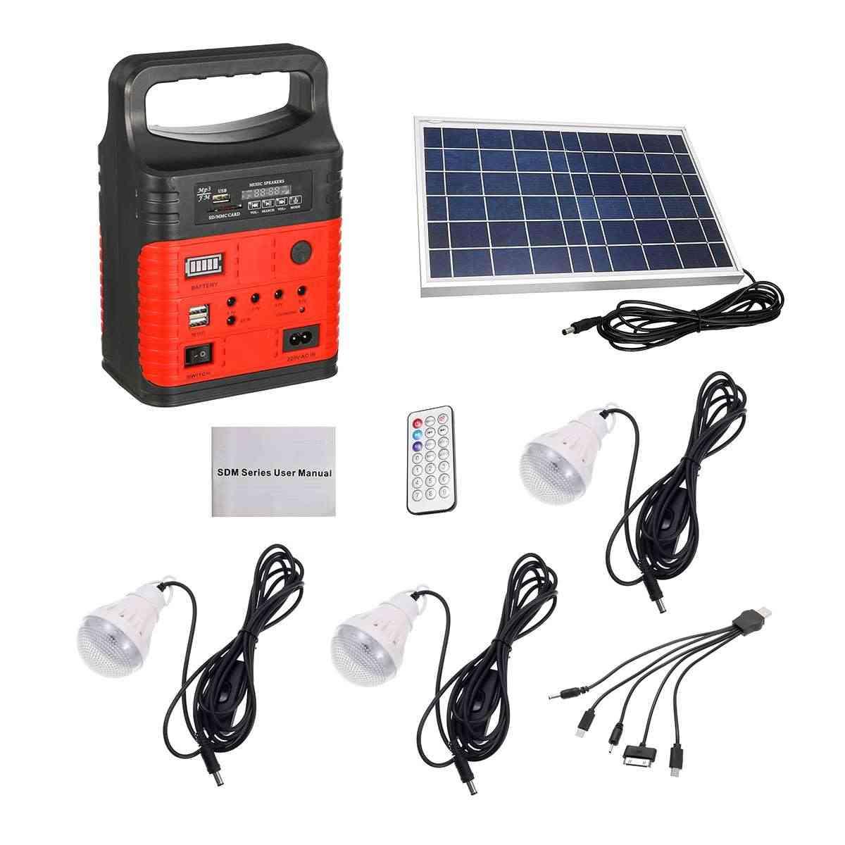 Emergency 3 Led Solar Lighting System Kit - Outdoor Power Supply Mp3 Radio Flashlig
