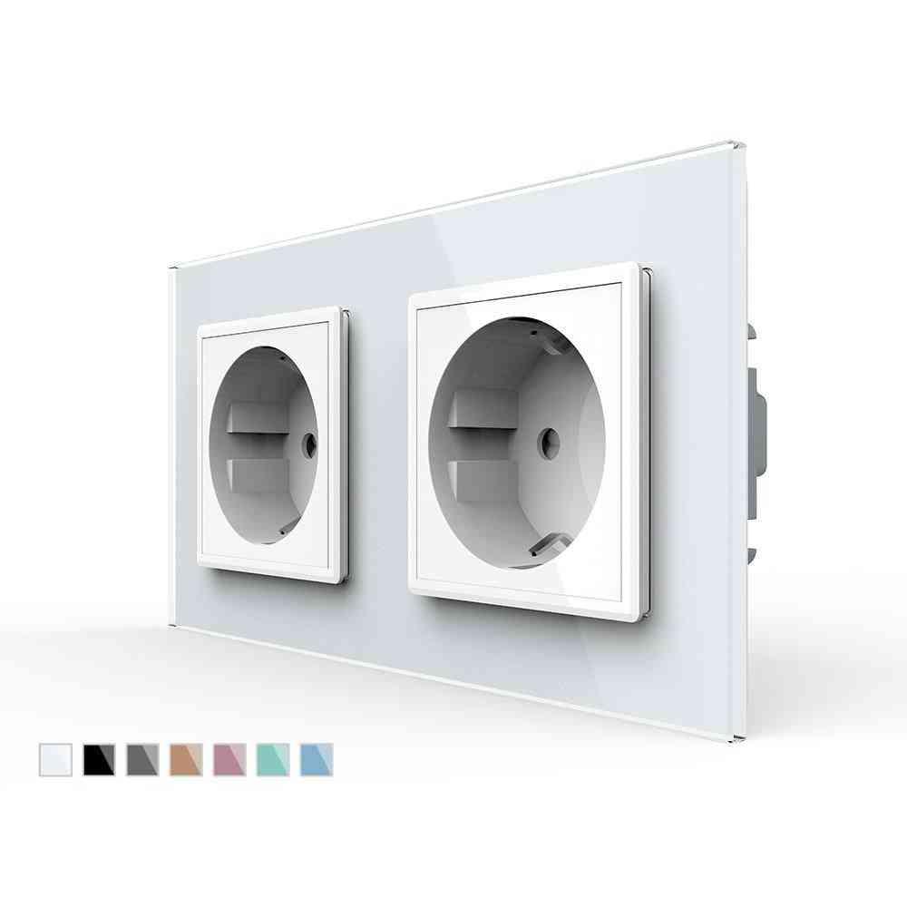 Wall Mounted Dual Power Socket, Eu Standard With Crystal Glass Panel