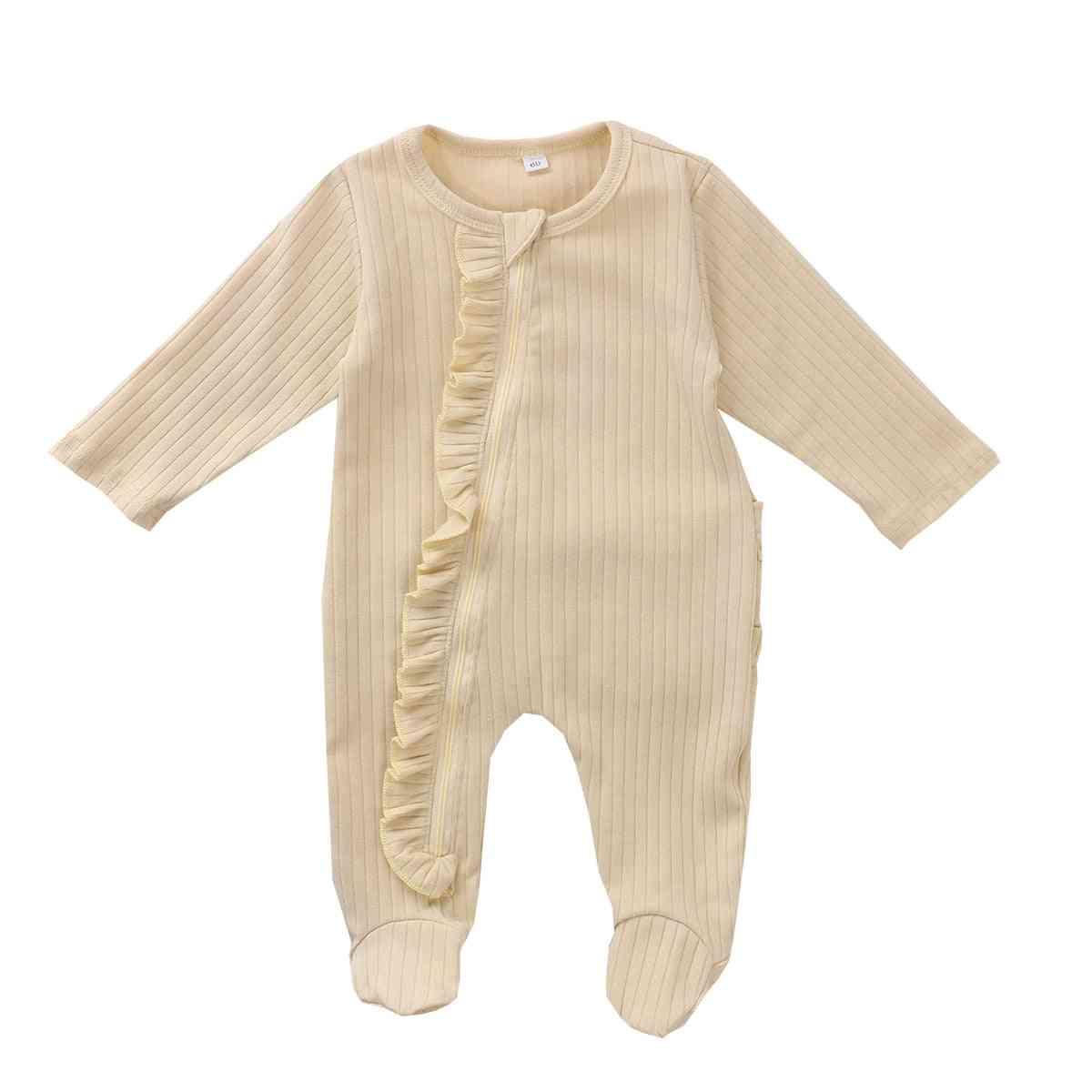 Solid Long Sleeve, Zipper Ruffles, Warm Sleepwear