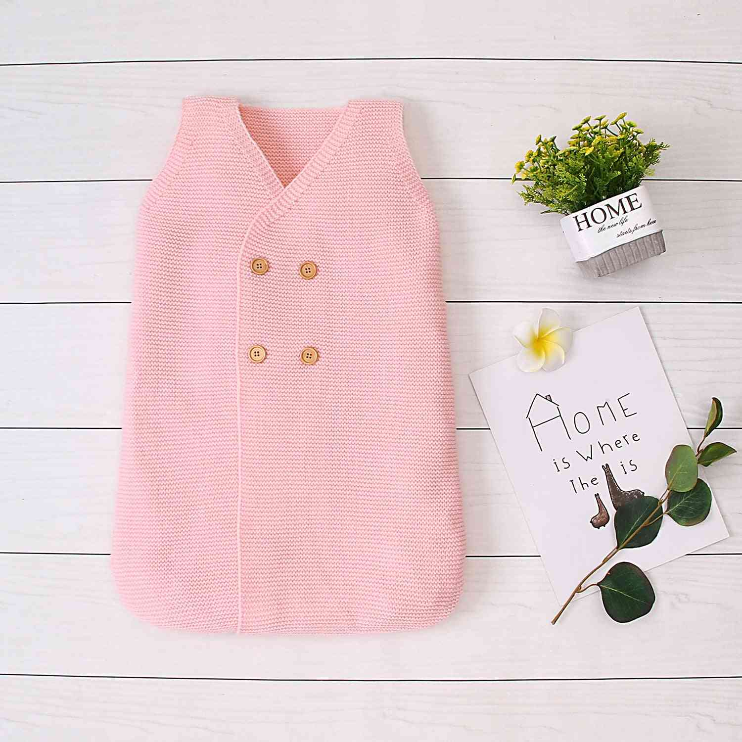 Winter Sleeping Bag- Knitting Coat, V-neck Buttons Wrapped Swaddle