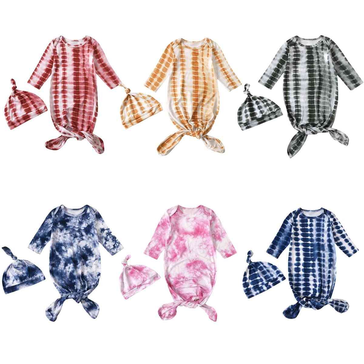 Long Sleeve, Tie And Die Pattern-printed Sleeping Wraps With Hats For Babies