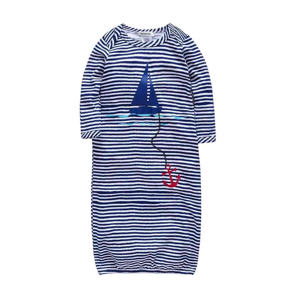 Blue Stripes, Baby Romper- Bamboo Fabric, Long Sleeve Nightwear
