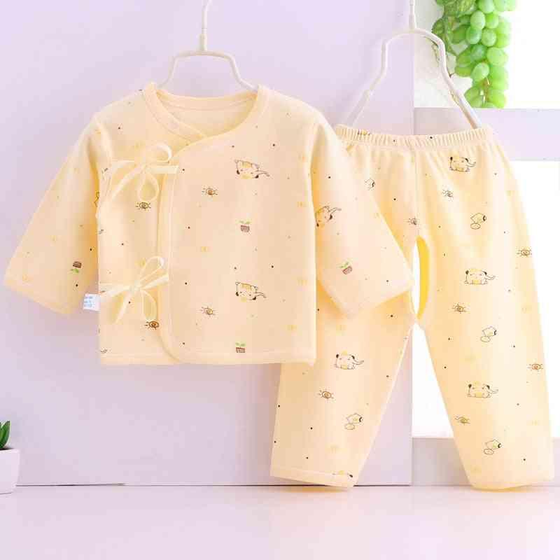 Cartoon Printed, Long Sleeve Shirt And Pant Set-sleepwear For Newborn