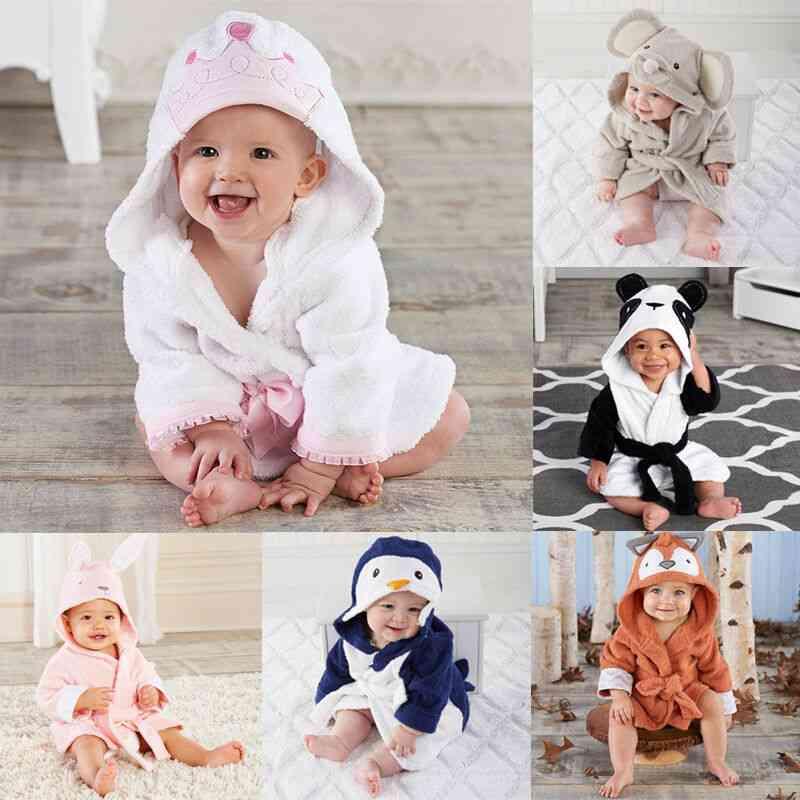 Cartoon Design, Hooded Winter Bathrobe For Babies