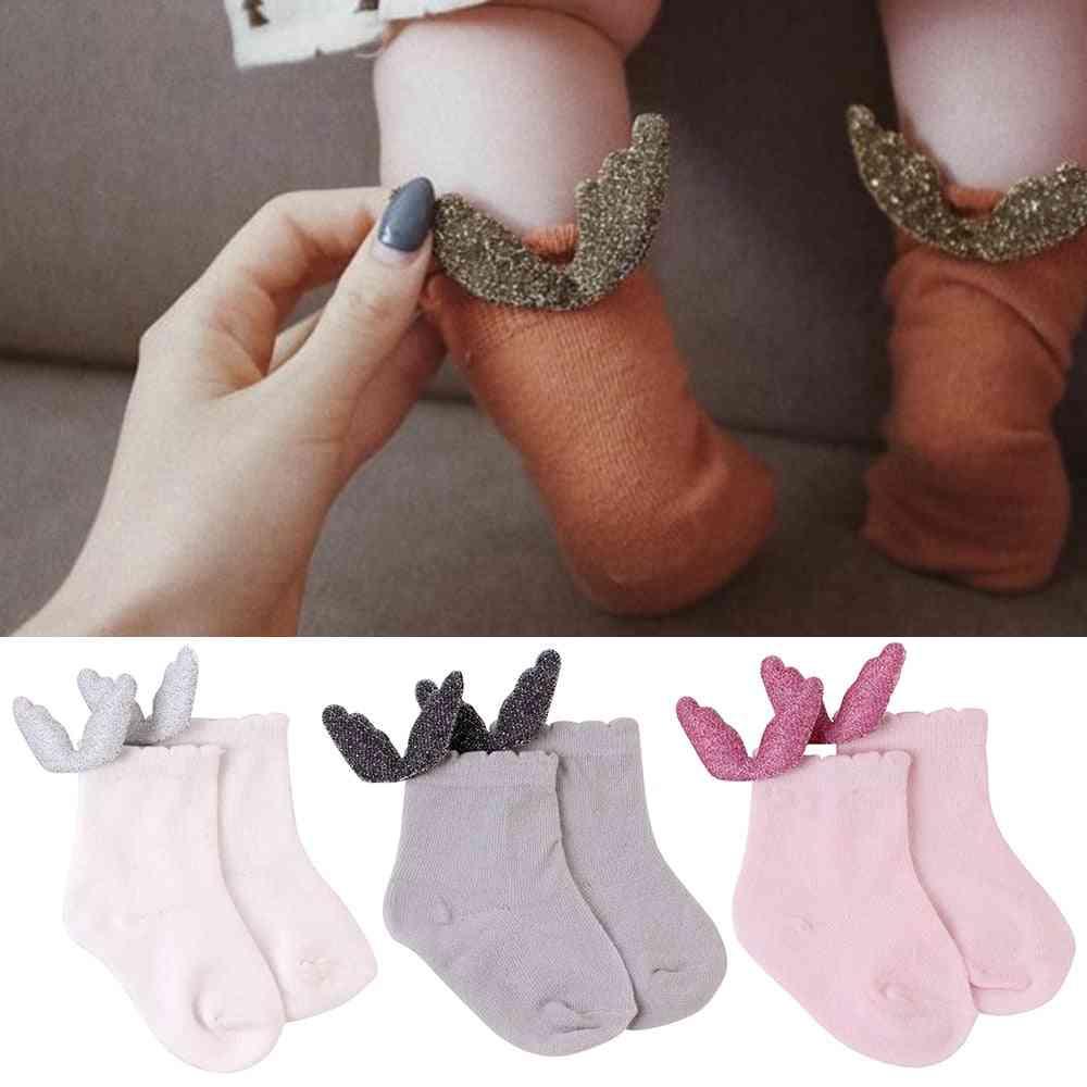 Cute Angel Wing Design, Non-slip Soft Cotton Socks For Newborn