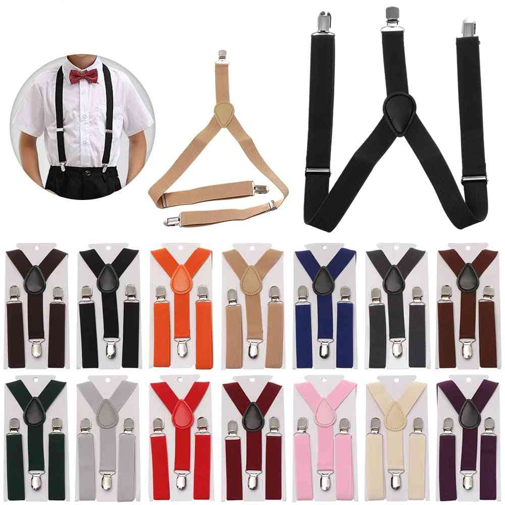 Adjustable Elastic Suspenders With Bow Tie For And