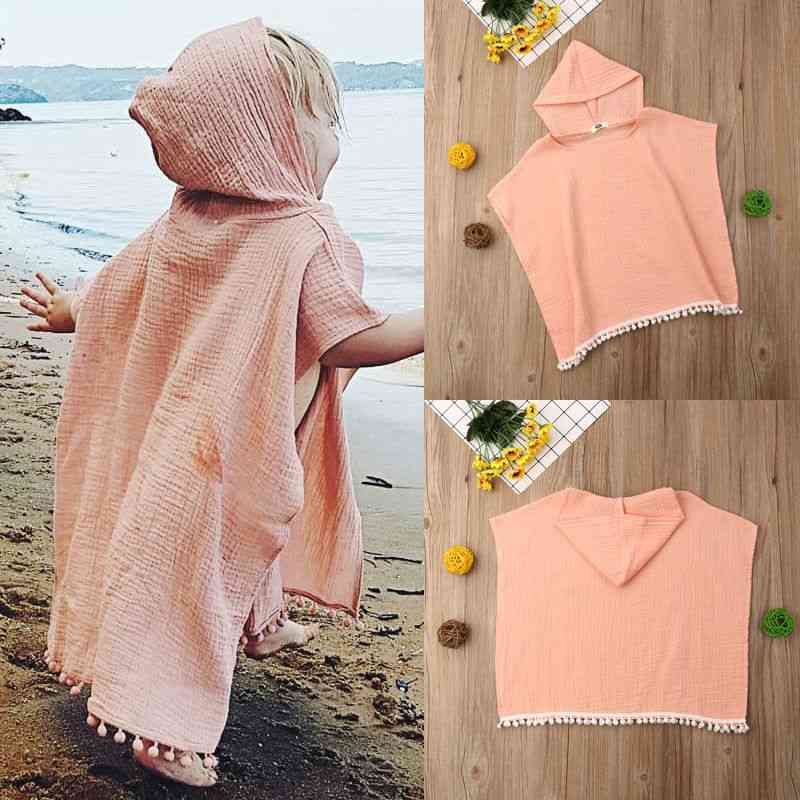 Baby Girl Long Cape, Hooded Tassel Cloak Poncho Jumper Clothes