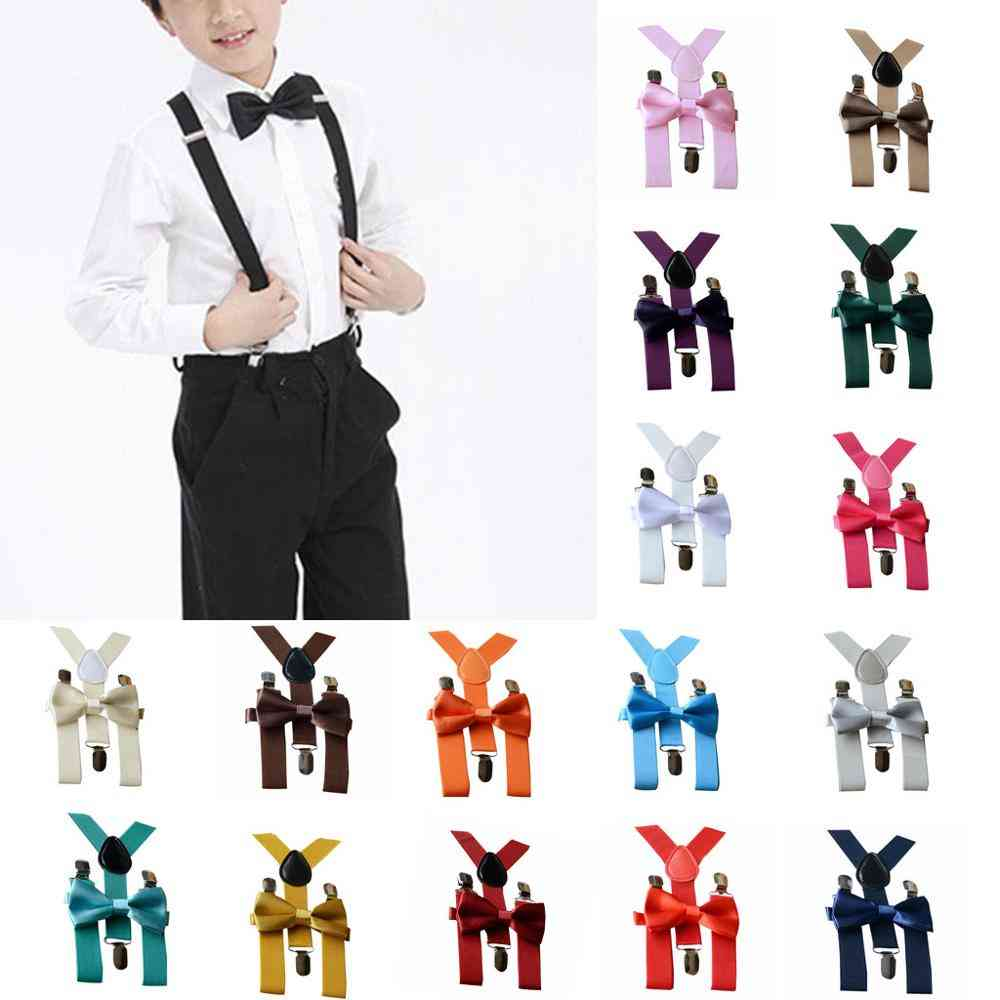 Kids Adjustable Braces Elastic Suspenders+solid Bow Tie Set