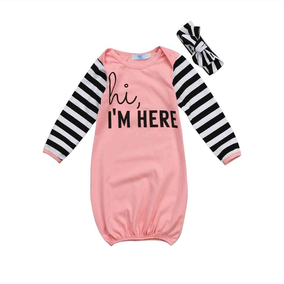 Hi I Am Here Printed-sleepwear For Newborn