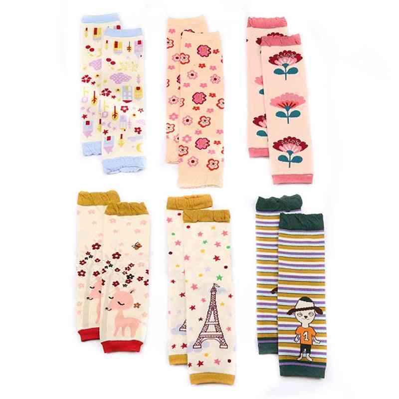 Cartoon Soft Socks, Crawling Knee Pads - Newborn Floral Printing Winter Leg Warmers