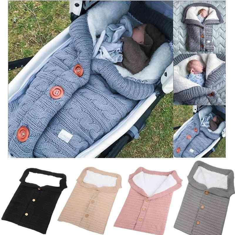 Newborn Baby Woolen Sleeping Bag, Stroller Knitted Sleep Sack Swaddle