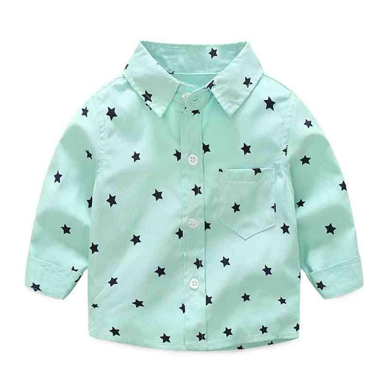 Baby Shirts, Casual Long Sleeve Stars Printed, Cotton