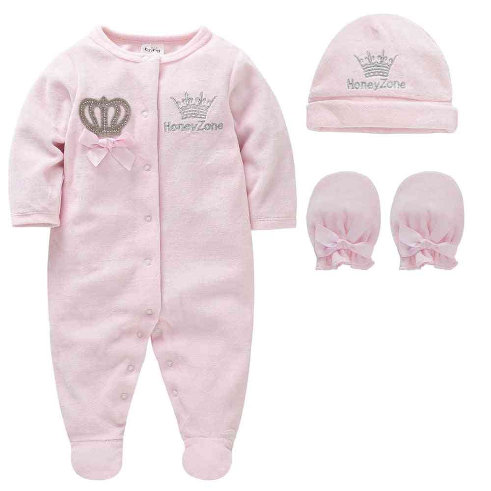 Baby Girl Pijamas With Hats, Gloves Cotton Soft Clothes