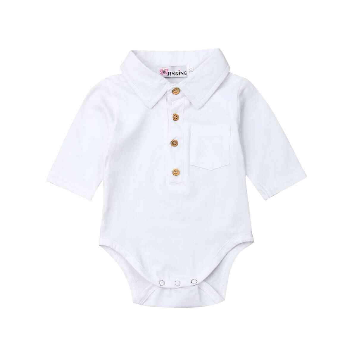 Baby Summer Clothing Formal Bodysuit - Short Sleeve Turn Down Collar Shirts