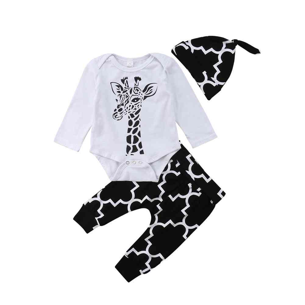 Baby Clothes - Cotton, Deer Long Sleeve, Romper+ Pants +hat Outfits