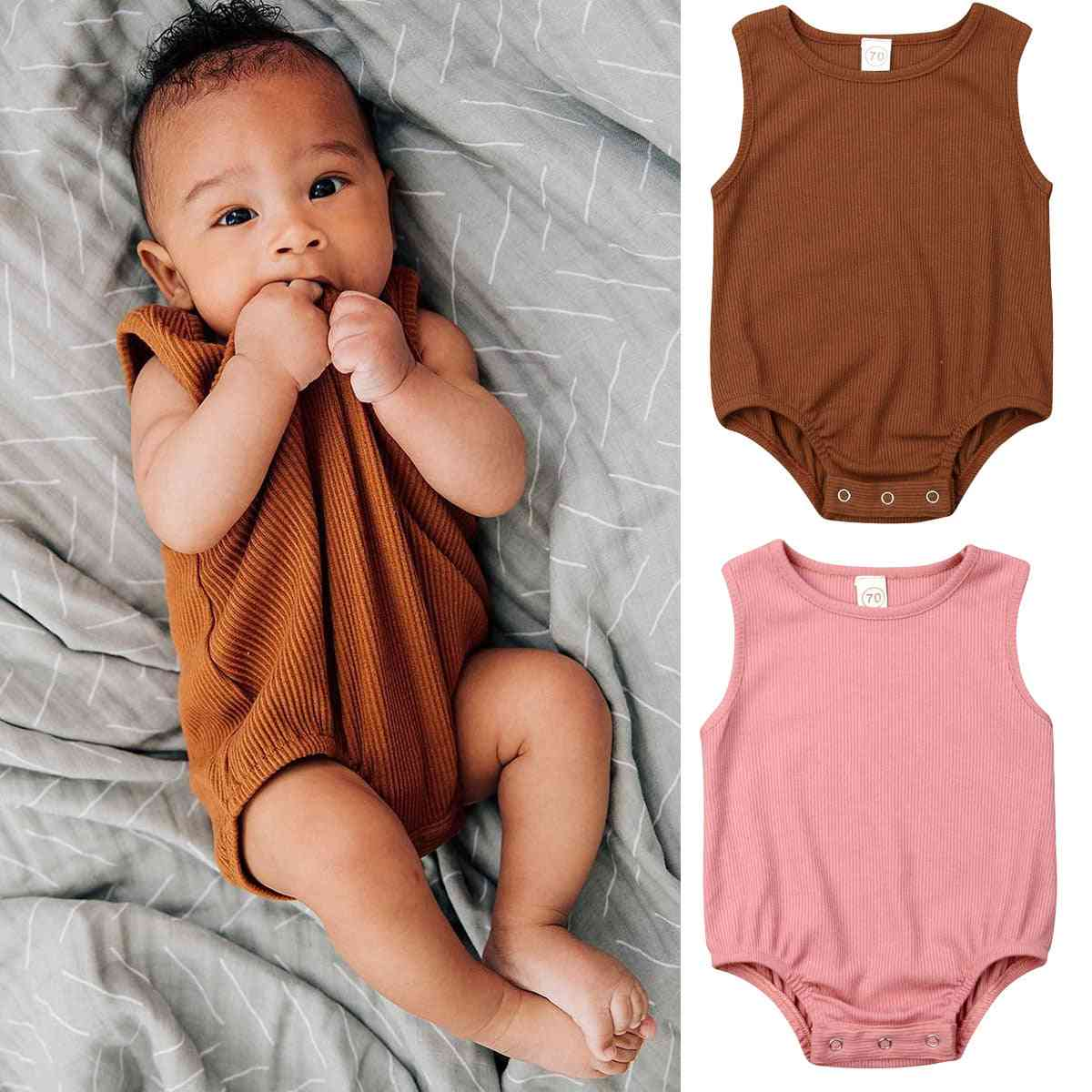 Newborn Kid Baby Girl, - Solid Jumpsuit, Casual Sleeveless Outfit