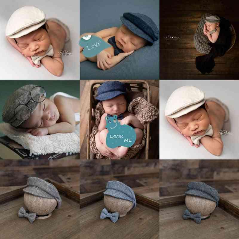 Newborn Baby Boy Hat Costume Little Gentleman Bow Tie Photography Props Studio Accessories