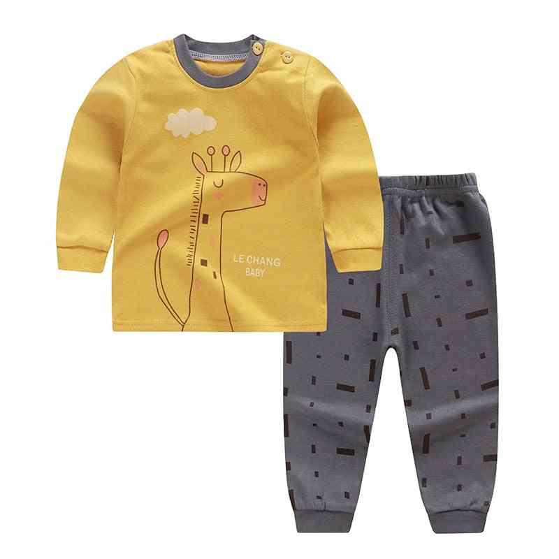 Autumn Spring Cartoon Print Baby Pajamas Sets Cotton Sleepwear Long Sleeve Tops+pants