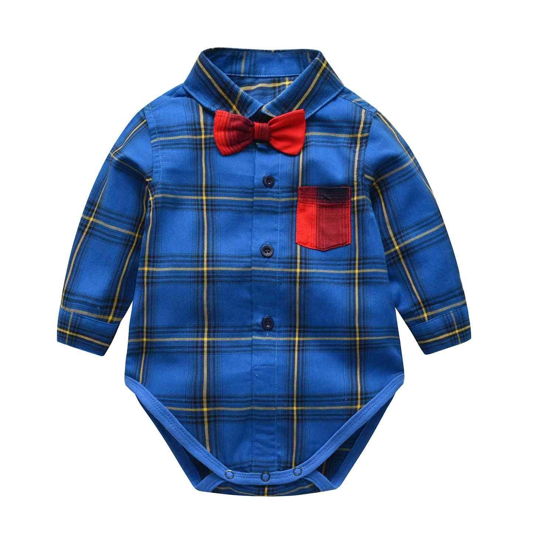 Spring And Summer Baby Boy Shirt, Gentleman Bow Tie Jumpsuit