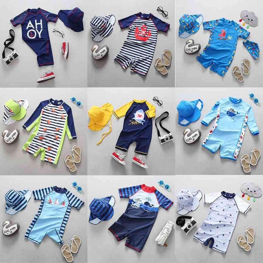 Baby Boy Swimwear - Uv Protect Infant Bathing Suit, Shark Dinosaur Anchor Short Sleeve's