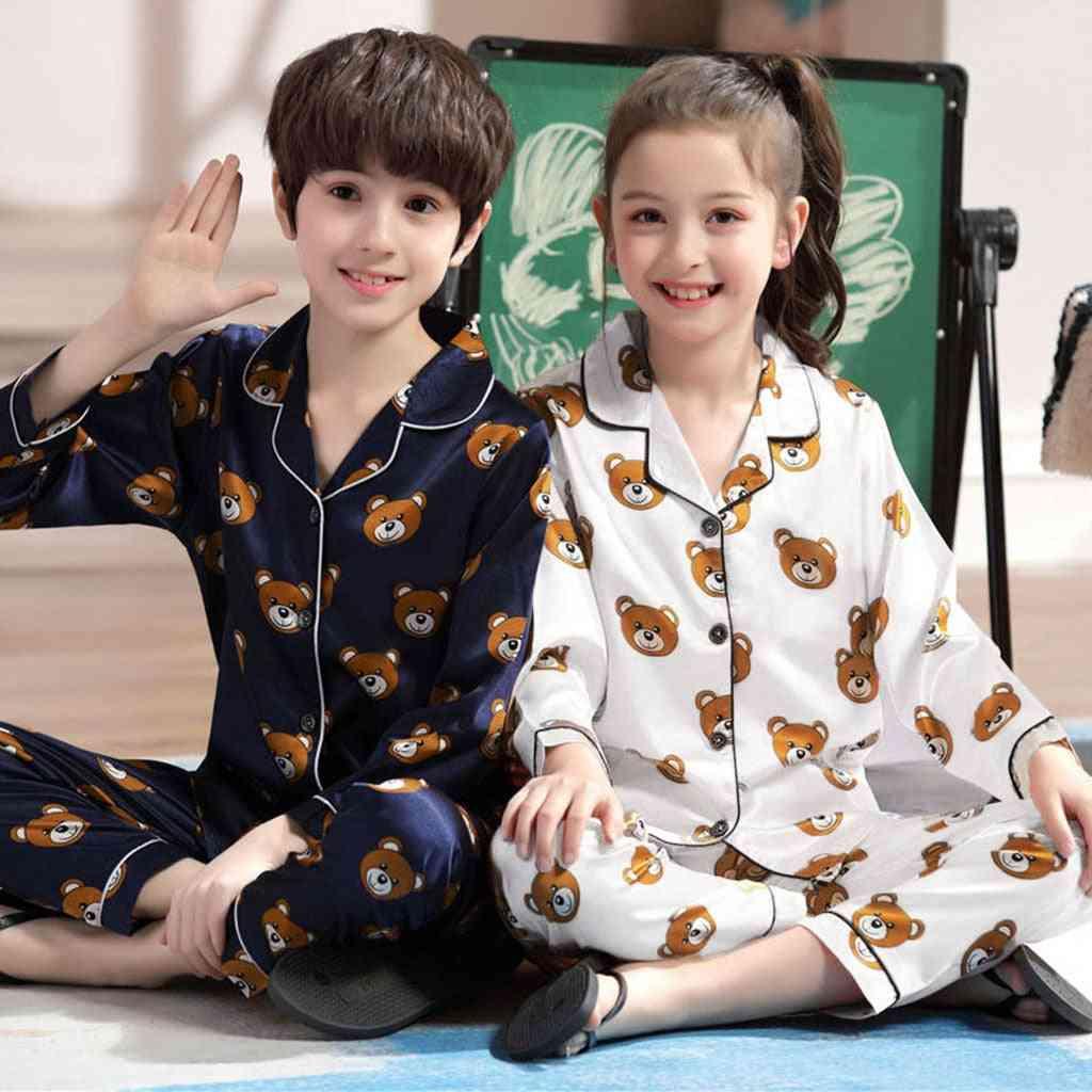 Baby Long Sleeve Cartoon Bear Tops & Pants Pajamas Sleepwear