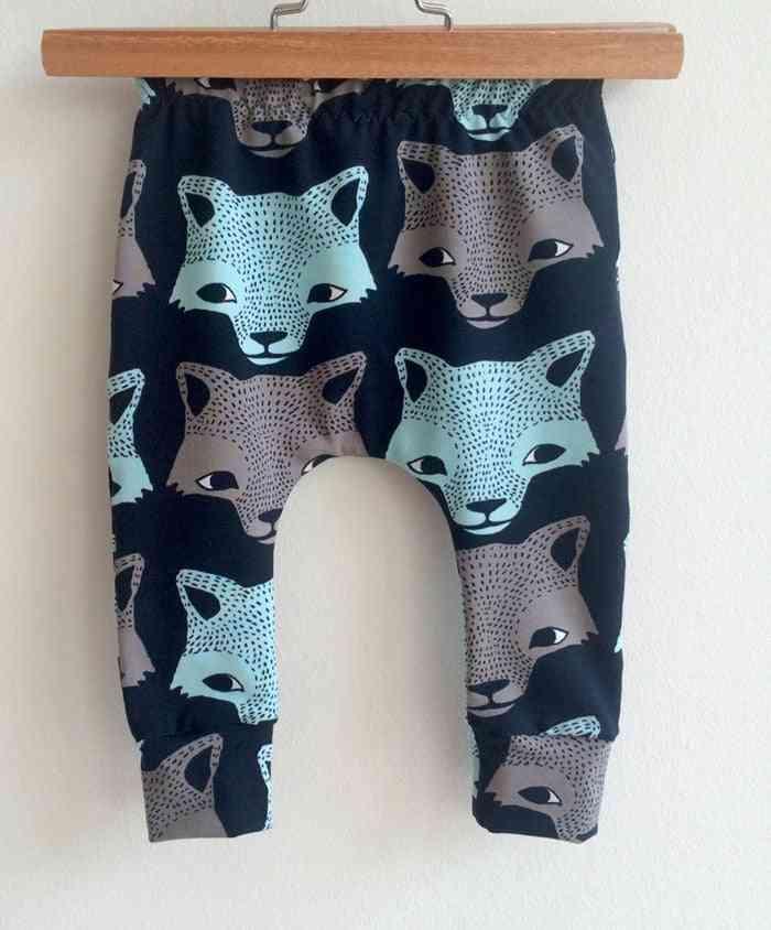 Wolf/bear Cartoon Animal Prints-casual Cotton Harem Pants For Babies