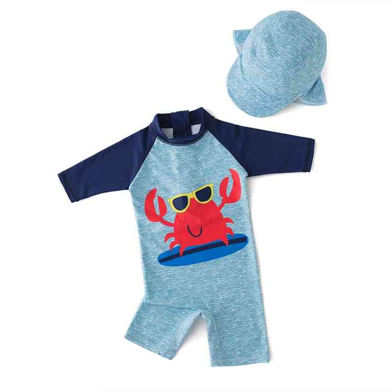 Swimwear And Hat Set With Inflatable Arm Band For Safety