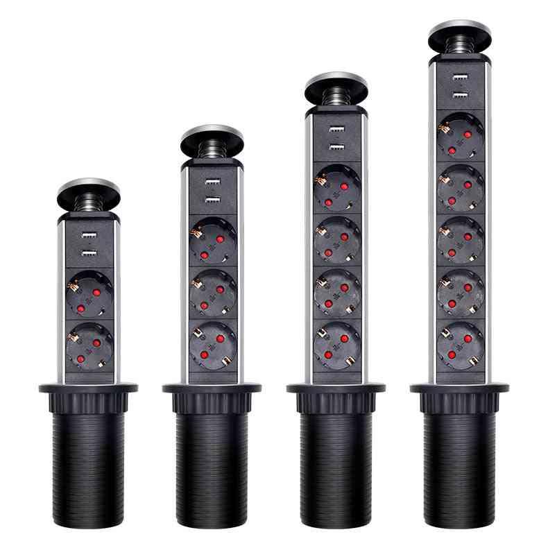 Eu Standard 2/3/4/5 Plug Usb Retractable Electrical Socket