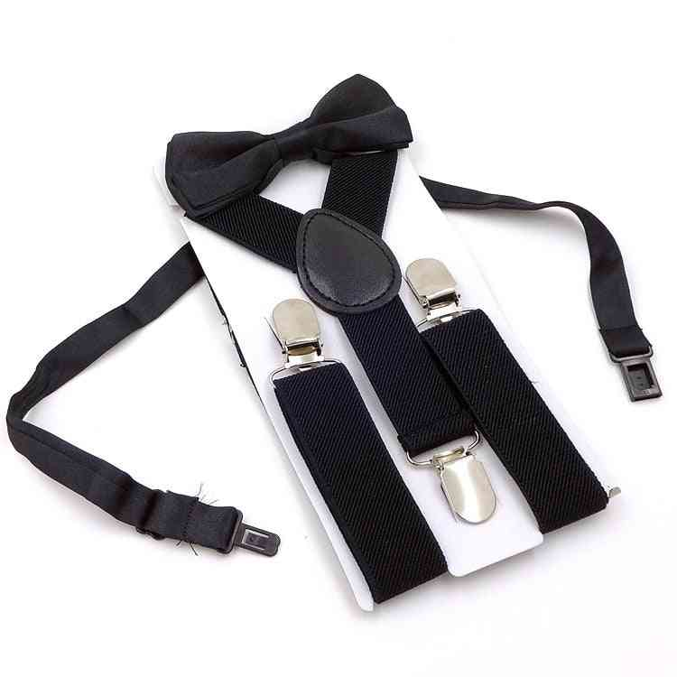 Adjustable And Elasticated Kids Suspenders With Bowtie Bow Tie Set