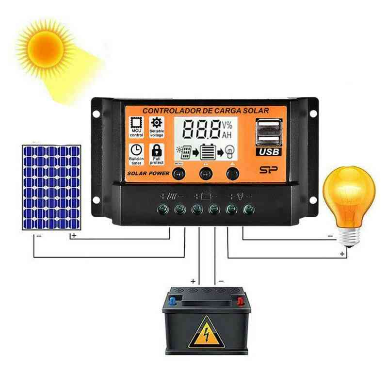 Auto Solar Panels Battery Charge Controller With Lcd And Dual Usb