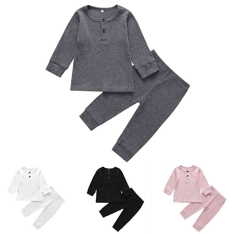 Spring Baby  Clothes Set -long Sleeve Solid Tops+pants Pajamas
