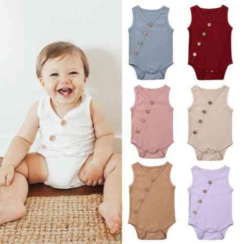 Summer Newborn Toddler Boy Girl Cotton Solid Jumpsuit Bodysuit Outfit
